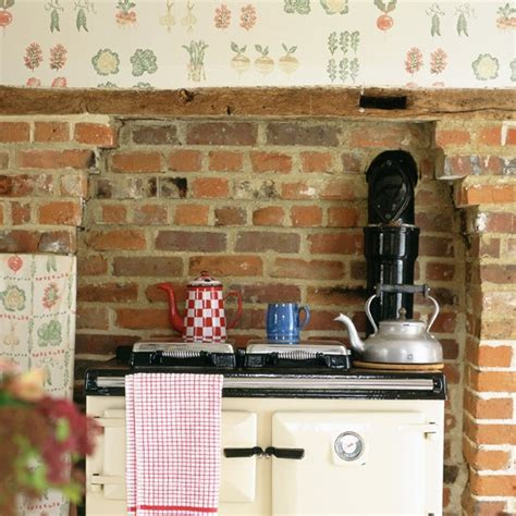 wallpaper ideas for kitchen rustic kitchen with fruit and vegetable print wallpaper