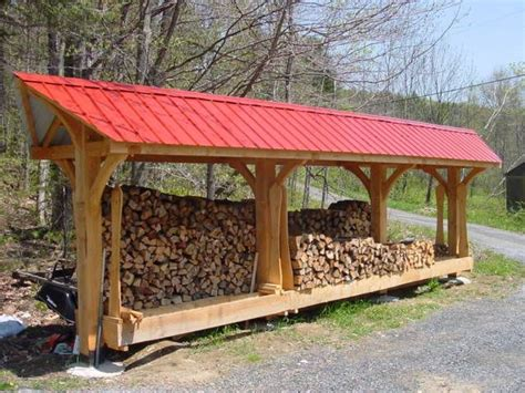 red roof timber frame woodshed rustic woodshed