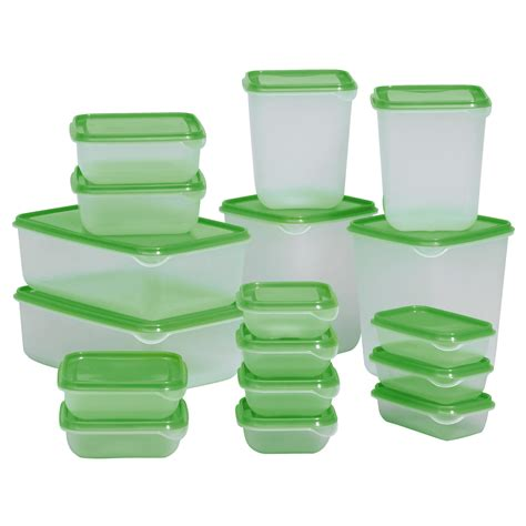 Ikea Food Container pruta food container set of 17 transparent green ikea