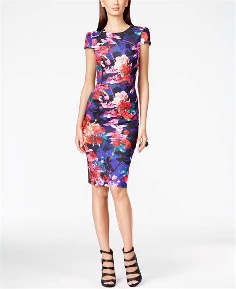 Sleeve Floral Sheath Dress betsey johnson floral print cap sleeve sheath dress in