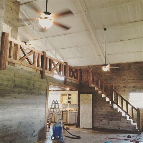 farmhouse rustic cedar railing stairs shop house