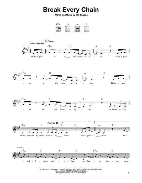Printable Lyrics Break Every Chain | break every chain sheet music direct