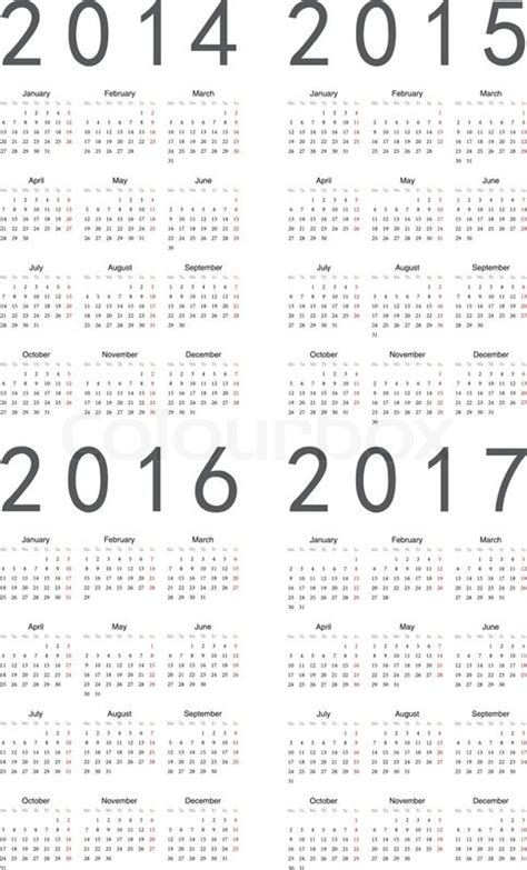 2014 To 2017 Calendar Set Of European 2014 2015 2016 2017 Vector Calendars
