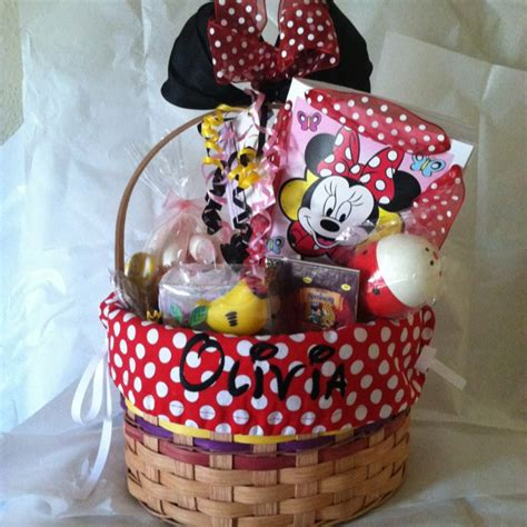 themed birthday gift baskets custom birthday basket for a 2 year old girl minnie mouse