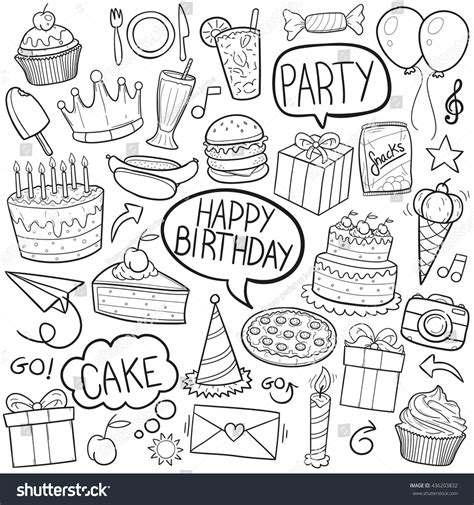 doodle sign up for event birthday doodle icons made stock vector