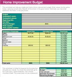 Home Renovation Budget Spreadsheet Template by Home Improvement Budget Template For Numbers Free Iwork