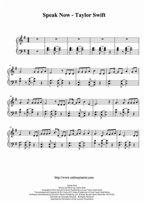 taylor swift chord piano speak now piano sheet music onlinepianist