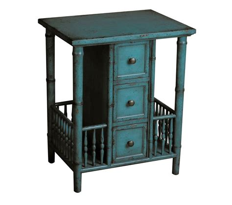 Teal Accent Table Dreamfurniture Ds 597066 Accent Table In Distressed Teal Finish