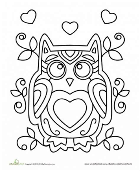 valentine owl coloring page owl valentine s day coloring pagesowl valentine coloring