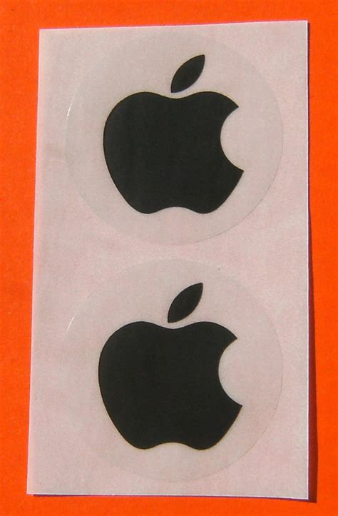 Unusual Lamps by Apple Logo Stickers X 2 In Black 40mm Unusual
