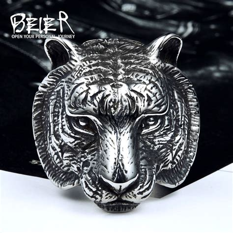 Cincin Beier Stainless Stell Domineering beier new store 316l stainless steel ring top quality domineering tiger ring animal for