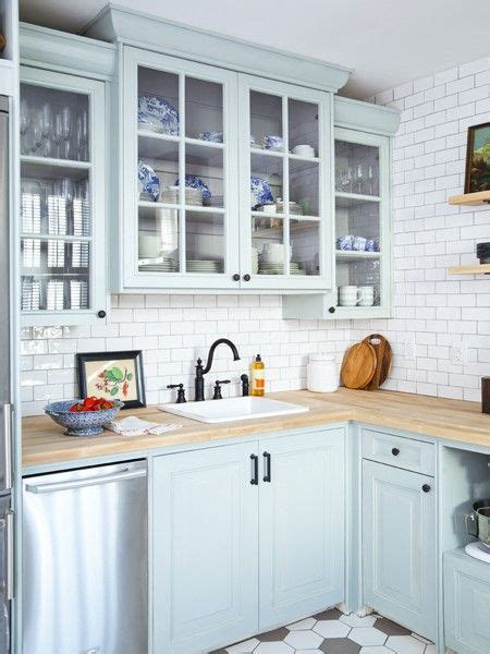 Light Blue Kitchen Photo Gallery Affordable Home Reno Tips Kitchen Cabinets Cabinets And Butcher Block Counters