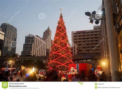 shopping in bangkok during new year tree at centralworld shopping mall in bangkok