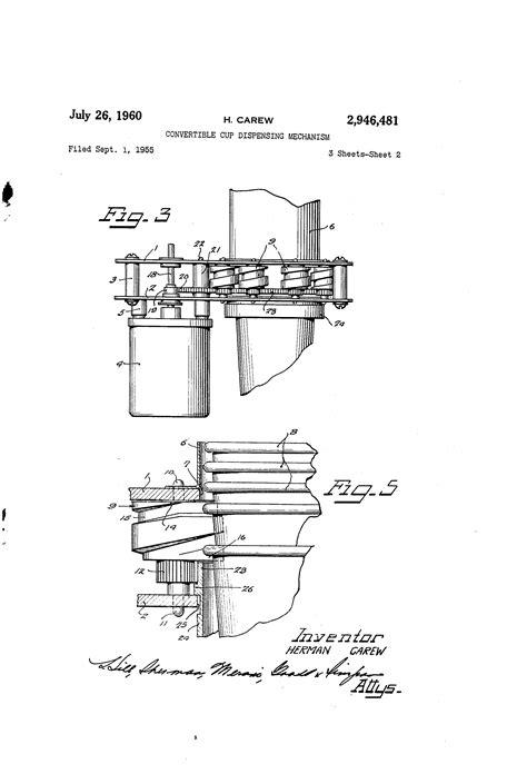design idea patent patent us2946481 convertible cup dispensing mechanism