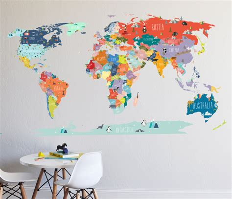 world map wall stickers wall decal world map interactive map wall sticker room