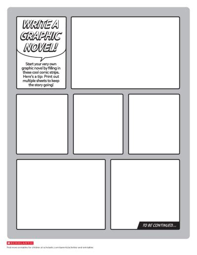 Create Your Own Graphic Novel Template Worksheets Printables Scholastic Parents Make Your Own Template