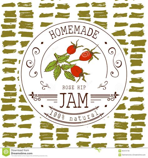 Jam Label Design Template For Rose Hip Dessert Product With Hand Drawn Sketched Fruit And Dessert Labels Template