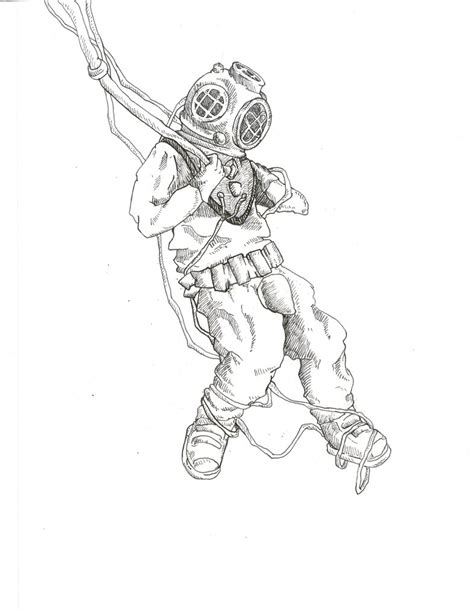 deep sea diver sketch ii by bombinart on deviantart