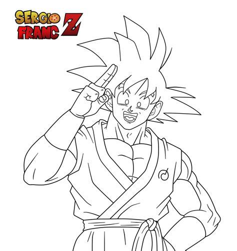 Imagenes De Goku Alegre | son goku alegre fukatsu no f 2015 lineart by