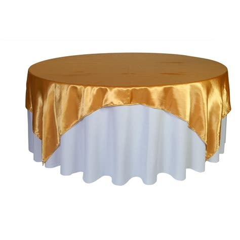 90 inch square satin table overlay gold wedding table