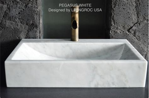 24 quot white marble bathroom vessel sink faucet hole pegasus white