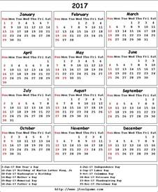 United States Of America Usa Fastis 2018 2017 Calendar With Holidays Usa
