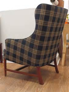 1950 s wing chair in schumacher plaid at 1stdibs