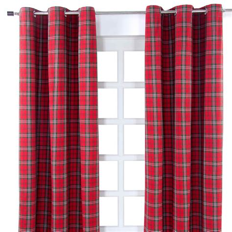 red check curtains ready made edward tartan check eyelet ready made curtain red green