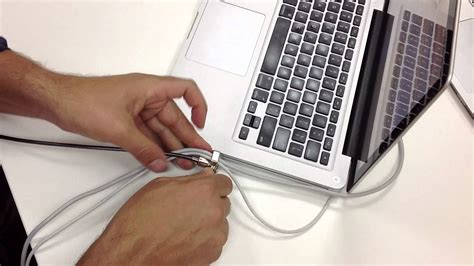how to lock a laptop to a desk how to use maclocks laptop security lock with cable trap