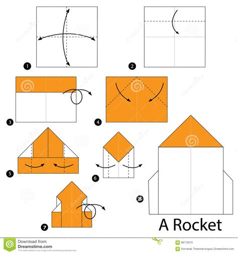 step by step how to make origami a rocket