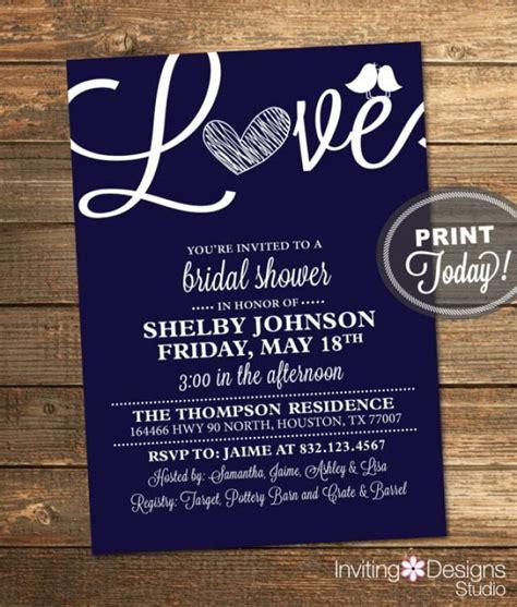 free printable wedding invitations navy bridal shower invitation love birds heart blue navy