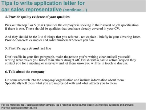 how to write application letter as a sales car sales representative application letter