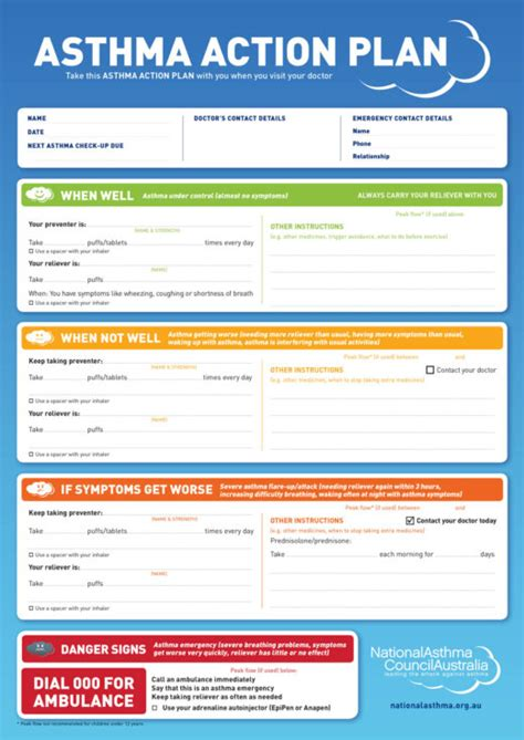 Asthma Plan Template Asthma Action Plan Exles National Asthma Council Australia