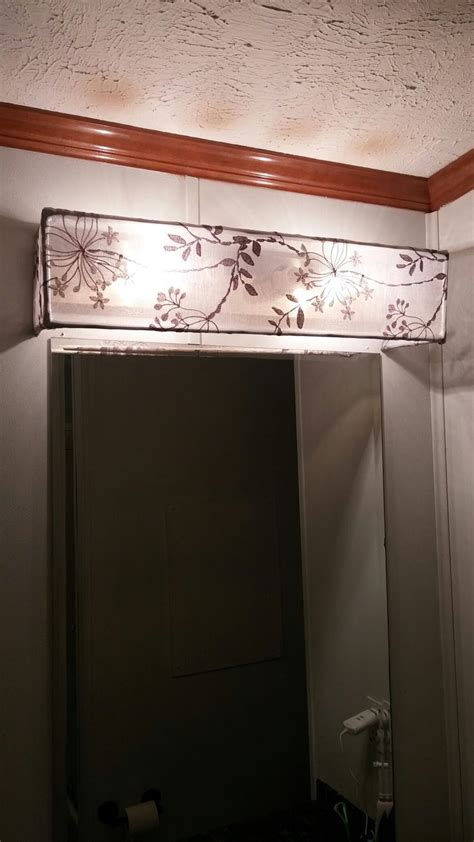 Small Bathroom Makeovers Ideas Diy Vanity Light Shade Dowel Rods And A Curtain Sheer