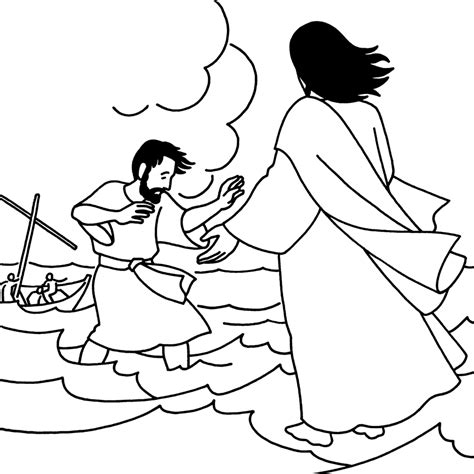 coloring pages for jesus walking on water jesus walks on the water