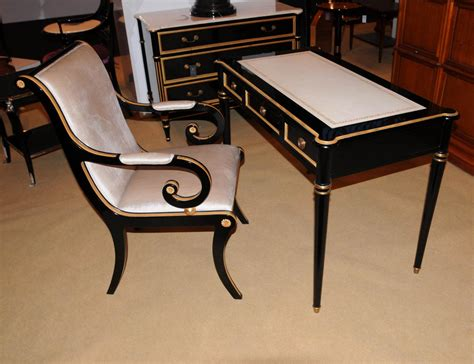 Writing Desk Chair by Regency Black Lacquer Writing Desk Chair Set Ebay