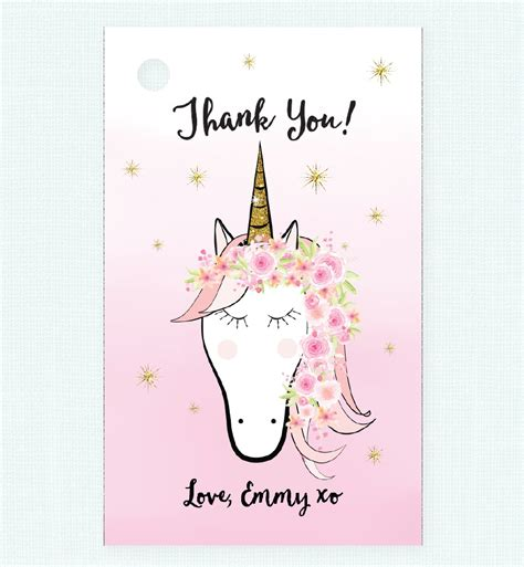 printable unicorn thank you tags floral unicorn thank you tag love jk