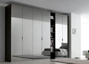 sky mirrored door wardrobe with open shelving fitted