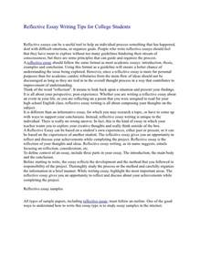 Reflective Writing Essay by Reflective Essay Writing Tips For College Students