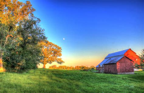 free stock photo of barn and landscape at charles mound