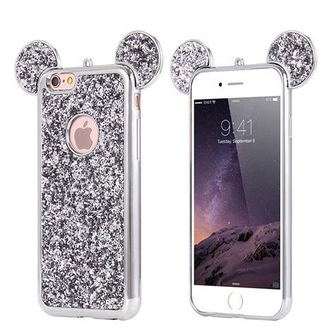 Ap Mickey 3d Glittery High Quality Softcase Iphone 4 5 6 6 Grand bling paillettes soft tpu fr iphone 6s 7 plus 5 mickey ear protective cover ebay