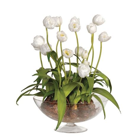 Artificial Tulips In Glass Vase by White Tulips In Glass Vase Flower Centrepiece Floral