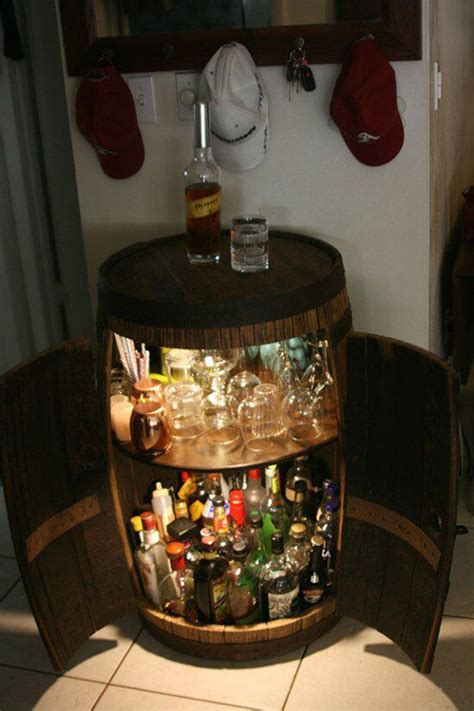 whiskey barrel liquor cabinet woodworking