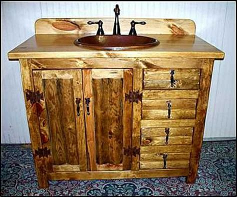 log bathroom vanity photo of 42 inch rustic with the sink in the center