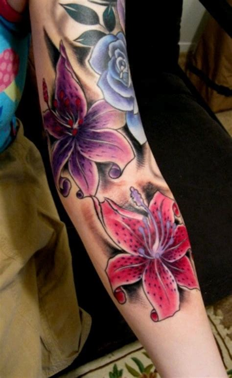 lily quarter sleeve tattoo lovely vivid colored lily flowers tattoo sleeve for girls