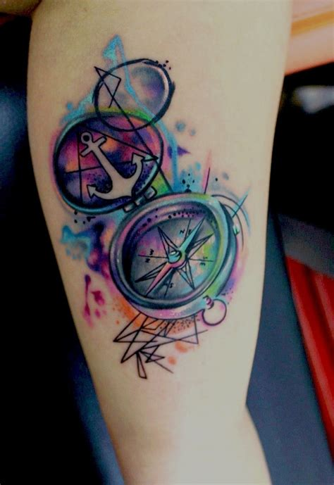 coloured compass tattoo color compass tattoo ideas design tattoo designs