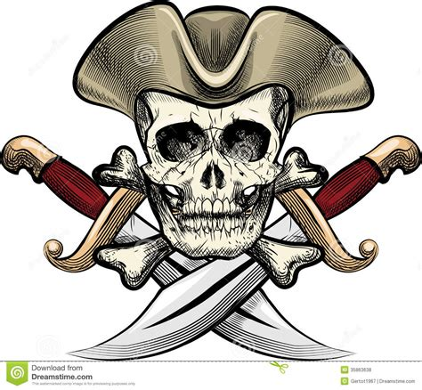 skull in the hat stock vector image of dirk element