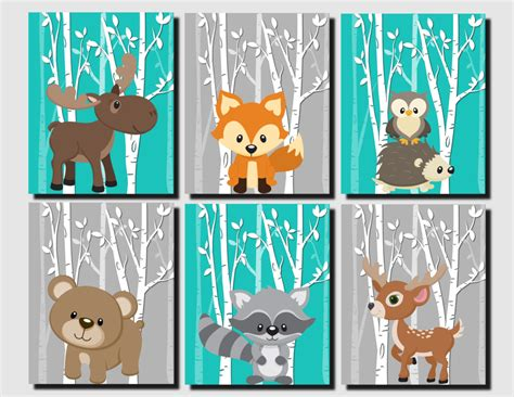 Woodland Animal Nursery Decor Woodland Nursery Woodland Wall Decor Teal Gray Forest Animals Wall Wall