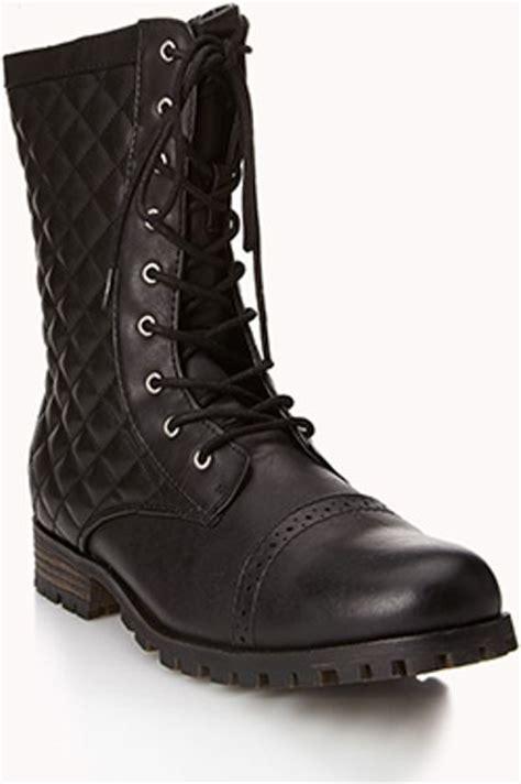 combat boots for forever 21 forever 21 secret rebel combat boots in black lyst