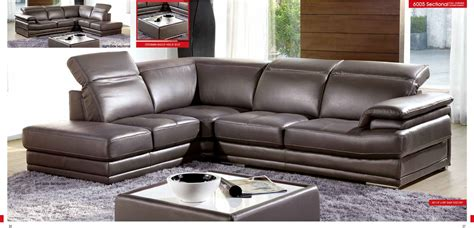 modern gray leather sofa esf modern grey genuine italian leather sectional 6005